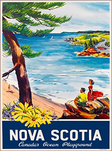 (A SLICE IN TIME Nova Scotia Canada's Ocean Playground Vintage Canada Canadian Travel Advertisement Art Collectible Wall Decor Poster Print. Measures 10 x 13.5 inches)