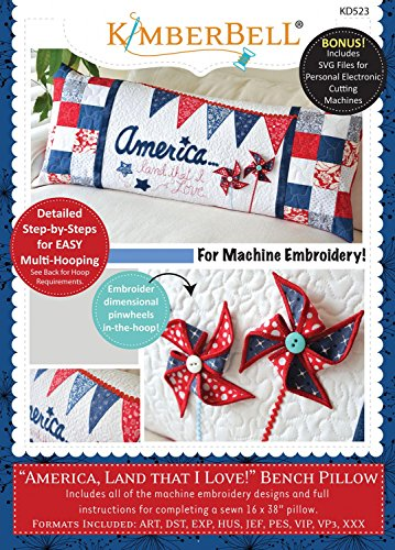 KimberBell - America, Land that I Love! Bench Pillow Machine Embroidery CD