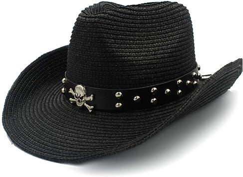 MXL Dise/ño de Remache Playa Sombrero para el Sol Sombrero de Rafia Vaquero Verano para Mujer Sombrero de Mezclilla Cintur/ón de Cuero para Hombre Calavera Pirata Metal Sombrero Redondo Decorativo