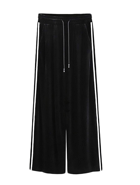 66c6ce806f9b Wide Leg Pants Femme Printemps Automne Elégante Mode Vintage Large Jambe  Style de fête Uni Manche Velours Pantalon Jogging Taille Haute ...