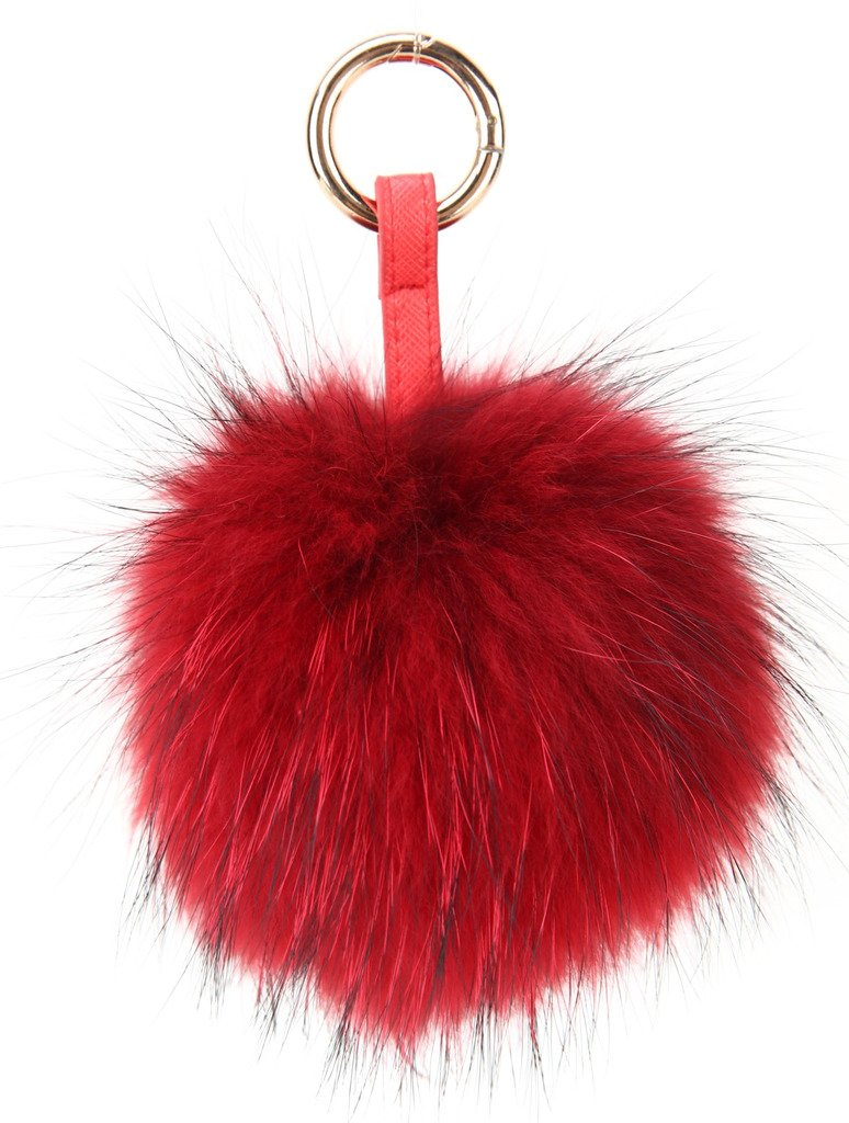 Vogueearth Real Large Fur Ball Pompoms Mobile Strap Keychain Bag Purse Charm Silver Fox A147147AH-Silver