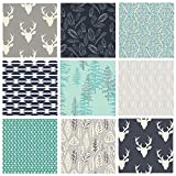 9 FABRIC BUNDLE (Blue/Gray) - Hello Bear - Indian Summer - Art Gallery Fabrics - Tepees Feathers Deer Heads Antlers (Yards)