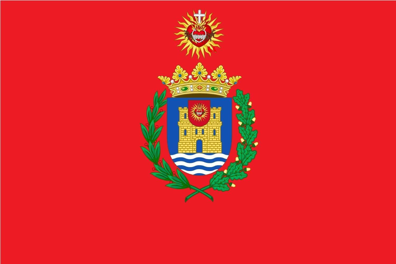 magFlags Bandera Large Alcalá de Henares con el Sagrado Corazón de Jesús y el Inmaculado Corazón de María - Escudo propuesto con el Sagrado Corazón de JES&uac: Amazon.es: Jardín