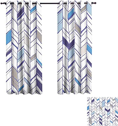 Chevron Bedroom Blackout Curtain Panels 52W x 96L,2 Panels Tribal Zigzag Lines Pattern in Various Shades Geometric Boho Sketch Room Darkening, Noise Reducing Violet Blue Taupe White