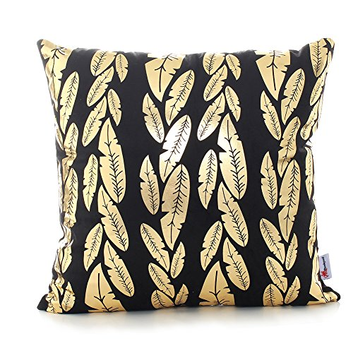 Monkeysell Original New products Bronzing flannelette Home Pillowcases Throw Pillow Cover Golden leaves pattern design Rock punk neoclassical style 18 inches(Insert are not included) (New Leaf Patterns)