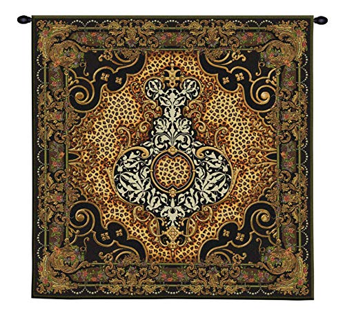 Onyx Safari | Woven Tapestry Wall Art Hanging | Classic Regal Patterns with African Leopard Prints | 100% Cotton USA Size 48x48 ()