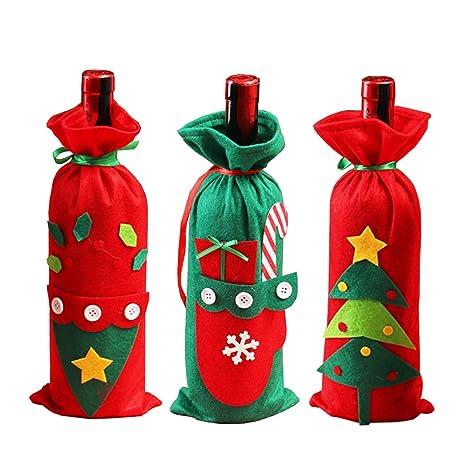 3 Piezas de Bolsa de Botella de Vino Roja Navidad Botella de Vino Bolsas Decoración Navidad