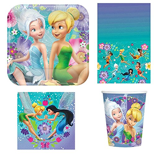 Tinkerbell Birthday Dessert Plates Napkins Cups and Table Cover Serves 16