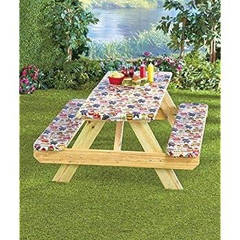 Amazon Com 3 Pc Picnic Table Covers Summertime Cookout Garden