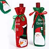 BUOCEANS bag, gift, flannel sweet table decoration Santa snowman Christmas wine bottle for table decoration, Christmas wine bag 2pcs, colour