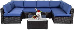 Kinbor Black All-Weather Rattan Wicker Sofa Set Backyard Patio Furniture 7 PCS Outdoor Cushioned Sectional Sofa Conversation Set
