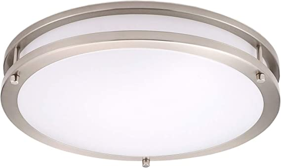 Ostwin 14 Inch Led Flush Mount Ceiling Light Dimmable Round Light Fixture Brushed Nickel Finish Plastic Shade 21 Watts 120w Eq 1470 Lm 5000k Daylight Etl Listed Home Improvement Amazon Com