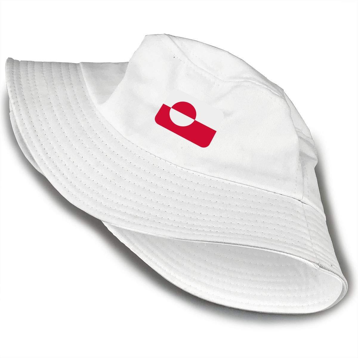 NDFGR Greenland Unisex Cotton Packable Black Travel Bucket Hat Fishing Cap