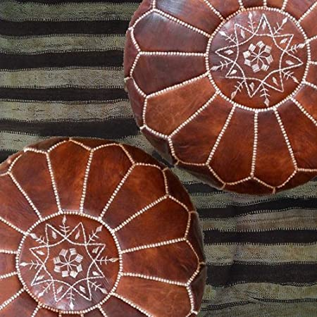 migliore offerta pronto magia il vostro soggiorno marocchino House poggiapiedi pouf   consegnato Unstuffed Light Tan set di 2/Amazing marocchina pouf Light tan color 100/% realizzato a mano in pelle Poof ottomani Poffes