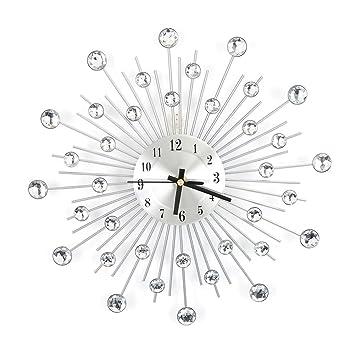 Cocoarm Metall Wanduhr mit Diamanten Blume, 3D Diamanten Dekorative Uhr  Nicht tickende Stille Wanduhr Wohnzimmer Home Büro Dekor (Silber)