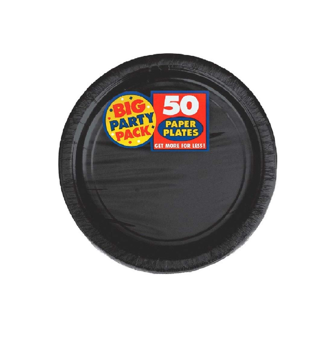 Amscan Big Party Supplies Pack Black Color Bundle set for 50 Guests 9'' Dinner Paper Plates, 7'' Luncheon Paper Plates and, 2-ply Luncheon Napkins with a Complementary Recipe Card by Delexiana (Image #3)