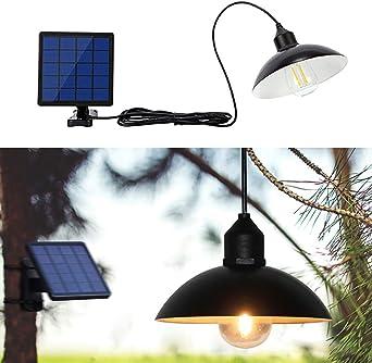 OurLeeme Luz solar para exteriores, Lámpara de suspensión LED retro e impermeable con pantalla Lámpara solar LED Lámpara colgante con cable para patio de jardín Inicio (Pantalla): Amazon.es: Iluminación