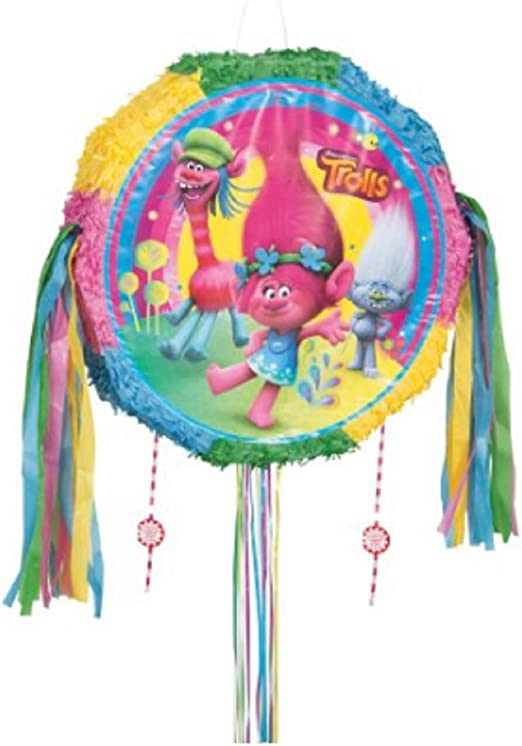 Trolls Poppy, Branch Pinata with Pull String for Birthday Party