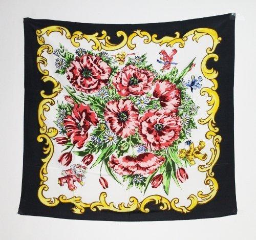 Pack Z55 (Teddy Bear Woman's Silk Scarf Floral Designed by artist LE #Z55 by Mini Bear Gems)