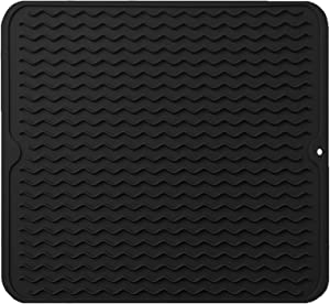 "Large 18"" x 16"" Silicone Dish Drying Mat,Durable Dish Drainer,Heat Resistant &Non-Slip Kitchen Pad,Countertop Protector,Easy Clean&Dish Washer Safe(Black)"
