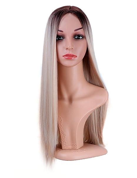 Golden Rule pelucas de color mezclado Ombre peluca rubia larga recta sintética a prueba de calor