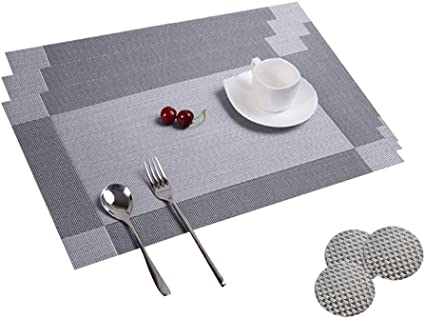 Table Mats Set Of 8 Dining Table Place Mats Washable Placemats Non Slip Heat Resistant Pvc With Singel Border Decoration Rectangle 45x30cm And Sets Of 8 Coasters For Kitchen And Dining Room Amazon Co Uk
