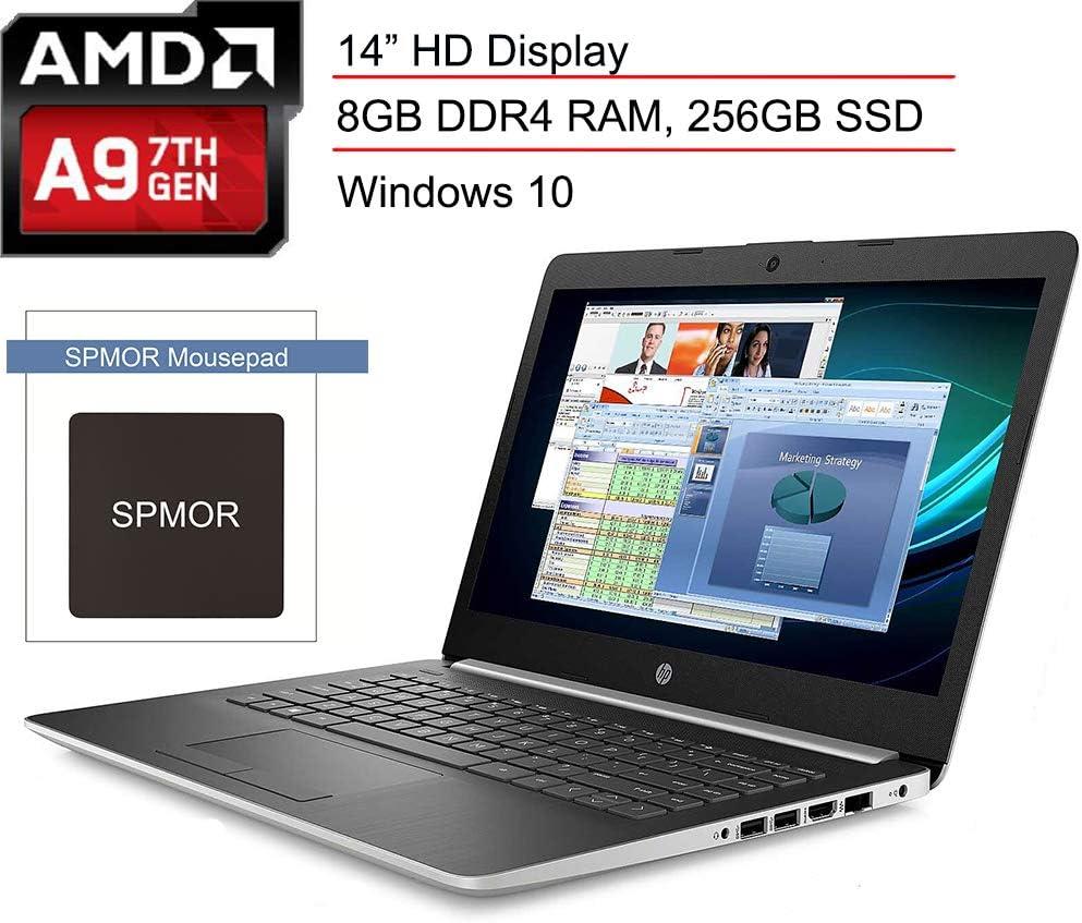 "(Renewed) HP 14 14.0"" Micro-Edge Laptop Computer, AMD A9-9425 3.10GHz Processor, 8GB DDR4 RAM, 256GB SSD, Bluetooth 4.2, 802.11AC WiFi, USB 3.1, Webcam, HDMI, Silver, Windows 10, SPMOR Mouse Pad"