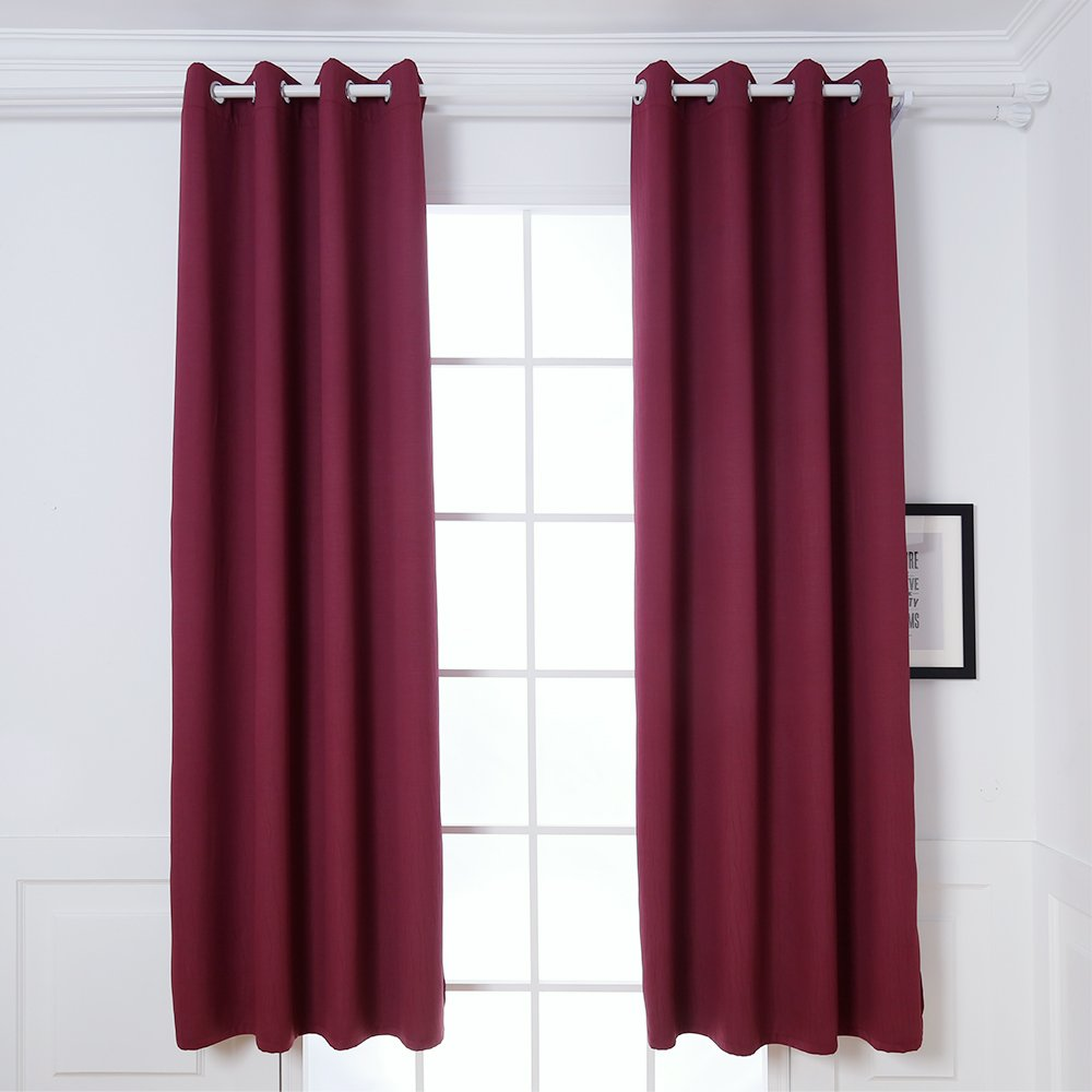 DREAM ART Anti-Microbial Super Soft Thermal Insulated Curtain / Drape for Nursery,Children Kids Bedroom Eyelet Blackout Curtains for Livingroom Energy Saving Noise Reducting(52x63-2panels, Burgundy)