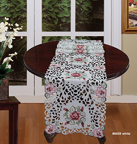 Creative Linens Embroidered Rose Floral Cutwork Table Runner 15x68