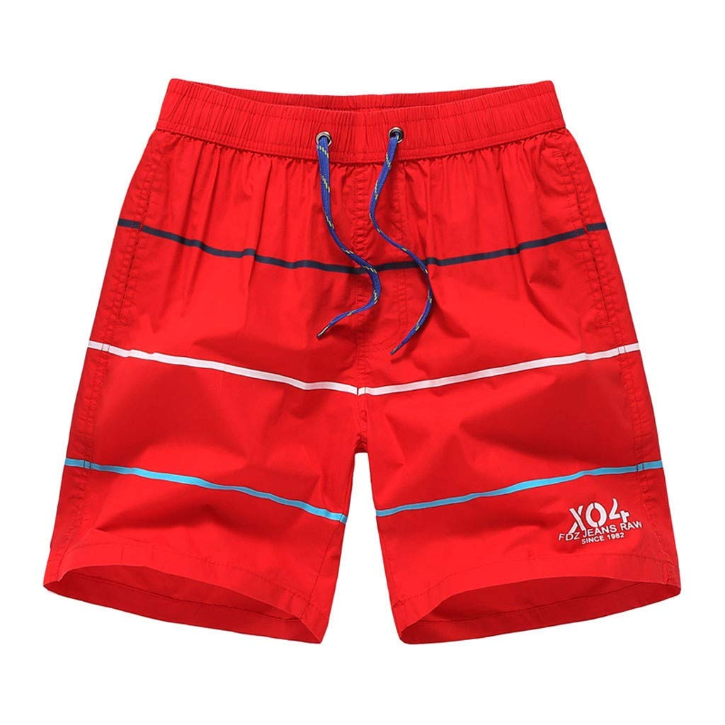 Mens Beach Pants Spring Summer Stripe Printed Trunks Quick-Drying Casual Sports Beach Surf Shorts Gray XL