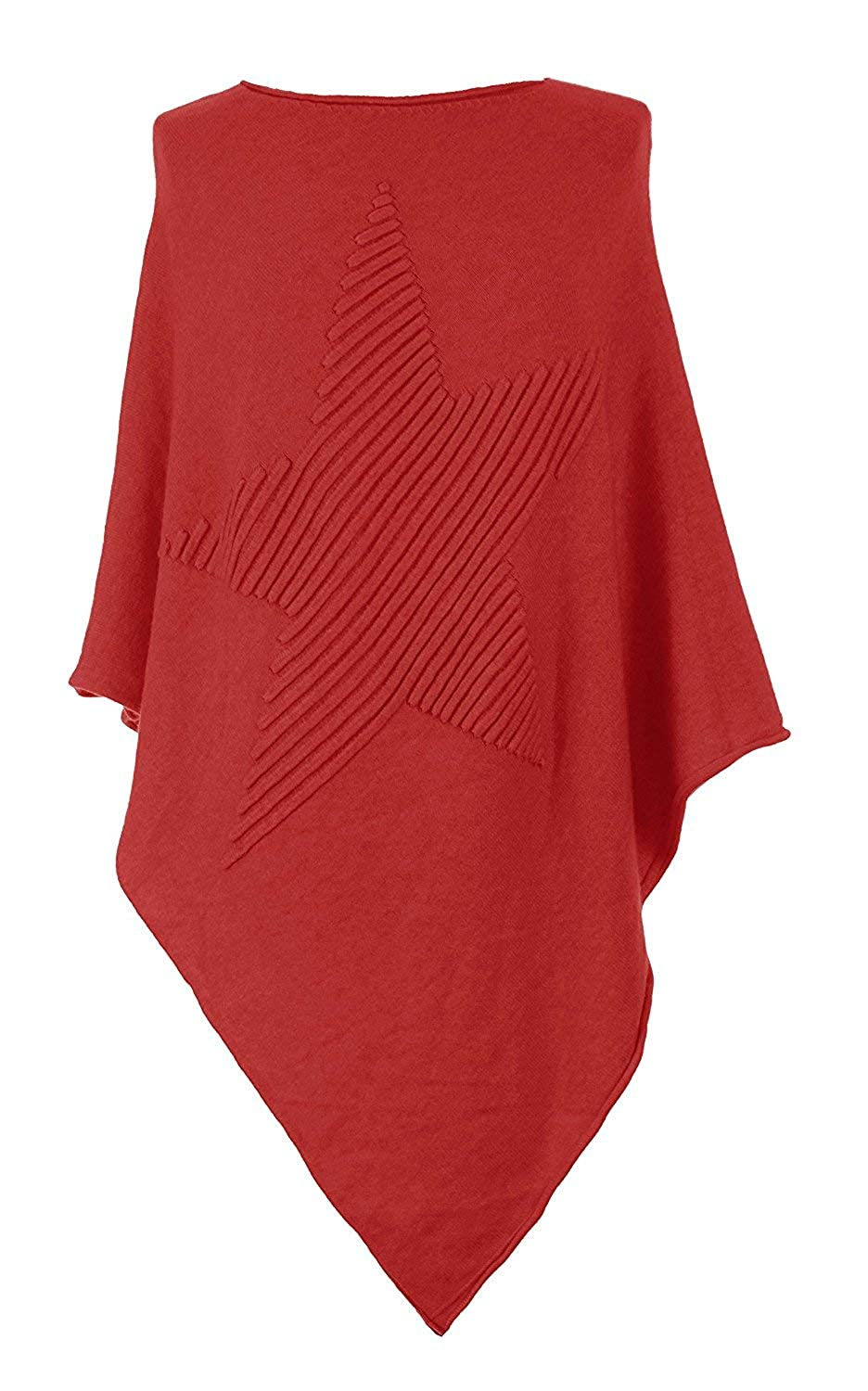 Gracious Girl Women Italian Lagenlook Quirky Soft Knit Ribbed Star Poncho Cape Wrap Kaftan Sweater Jumper Top