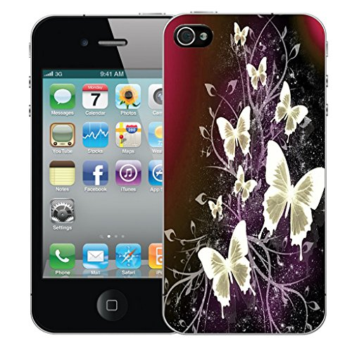 Mobile Case Mate iPhone 5 Silicone Coque couverture case cover Pare-chocs + STYLET - Cluster Butterflies pattern (SILICON)