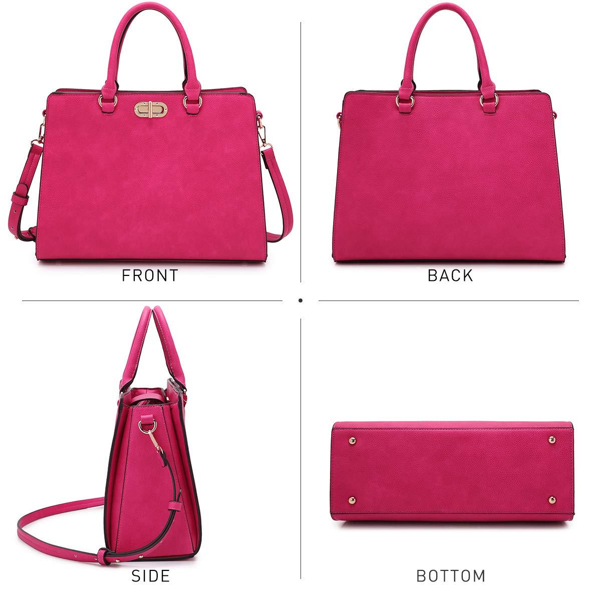 Women's Fashion Handbags Tote Purses Shoulder Bags Top Handle Satchel Purse Set 2pcs 01- Fuchsia by Dasein (Image #5)