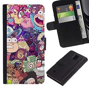 LASTONE PHONE CASE / Lujo Billetera de Cuero Caso del tirón Titular de la tarjeta Flip Carcasa Funda para Samsung Galaxy Note 4 SM-N910 / Character Games Kids Play