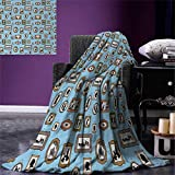 smallbeefly Vintage Digital Printing Blanket Pictures Different People Black Silhouettes in Antique Frames Hanging on The Wall Summer Quilt Comforter 80''x60'' Multicolor