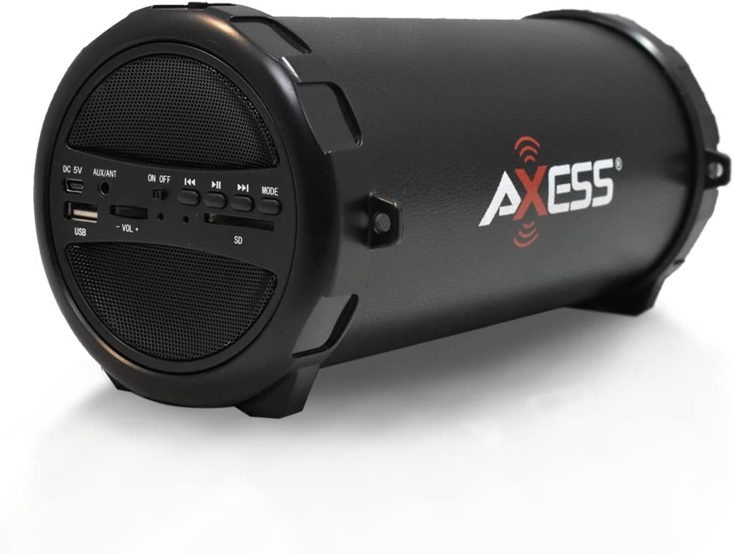 "AXESS SPBT1031 Portable Bluetooth Indoor/Outdoor 2.1 Hi-Fi Cylinder Loud Speaker with Built-In 3"" Sub and SD Card, USB, AUX Inputs in Black"