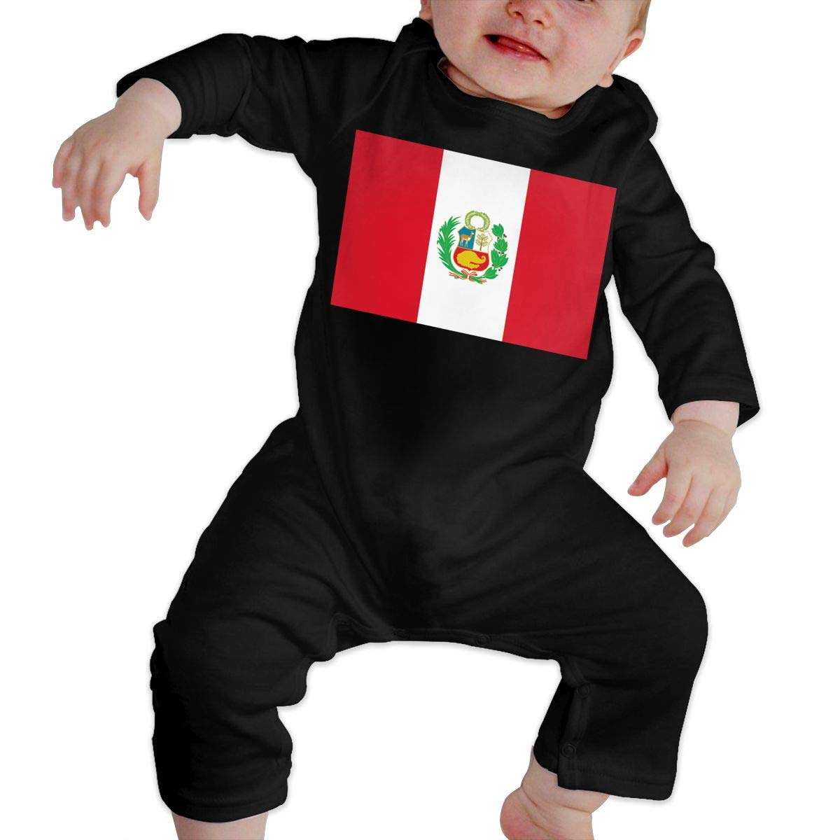 Cute Peru Flag Jumpsuit U99oi-9 Long Sleeve Cotton Rompers for Baby Girls Boys