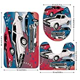 3 Piece Bathroom Mat Set,Cars,Pop-Art-Stylized-Group-of-Nostalgic-American-Muscle-Cars-with-Stars-Antique-Print,Red-Beige-Blue.jpg,Bath Mat,Bathroom Carpet Rug,Non-Slip