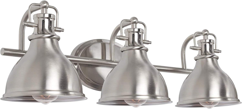 Kira Home Beacon 26.5 3-Light Modern Industrial Bathroom Vanity Light Metal Shades, Brushed Nickel Finish