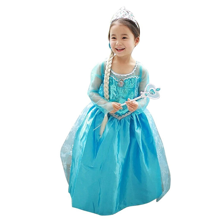 Amazon.com: Loel Princess Inspired Girls Snow Queen Party Costume ...