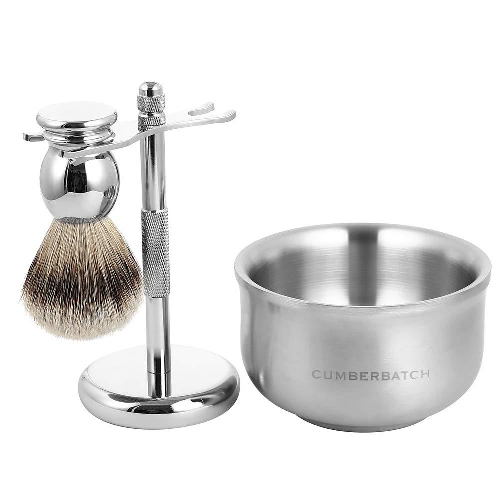 Cumberbatch Mens Shaving Kit Gift Set, Silvertip Badger Shaving Brush And Bowl, Safety Razor Stand