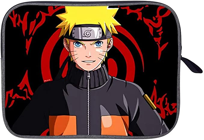 Fashion Anime Cartoon Yellow Black Naruto Tablet Bag Wife Husband Prints Laptop Protective Bag Durable Polyester Laptop Computer Case White 13inch