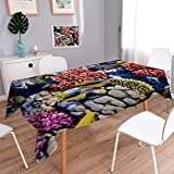 PRUNUSHOME Spillproof Fabric Tablecloth Coral and fish in the Red Sea Egypt,Africa wear-resistant, washable, anti-liquid spill/54W x 102L Inch