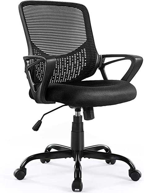 Ergonomic Office Chair Lumbar Support Mesh Chair Computer Desk Task Chair With Armrests Kitchen Dining