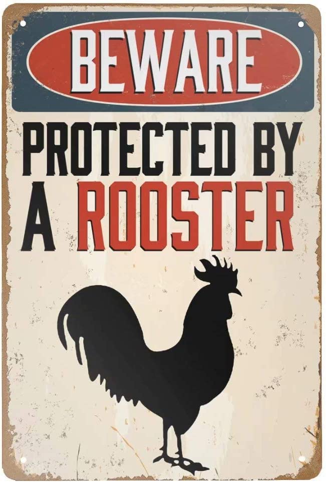 Retro Metal Tin Sign Vintage Beware Protected by A Rooster Chicken Aluminum Sign for Home Coffee Wall Decor 8x12 Inch