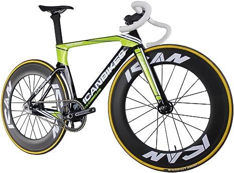 ICAN Completo Carbono Aero Fixed Gear Velocidad Pista Bicicleta UD Brillante Verde 49/51/54/56 cm: Amazon.es: Deportes y aire libre