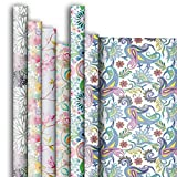 Jillson Roberts 6 Roll-Count All-Occasion Gift Wrap Available in 14 Different Assortments, Fanciful Florals
