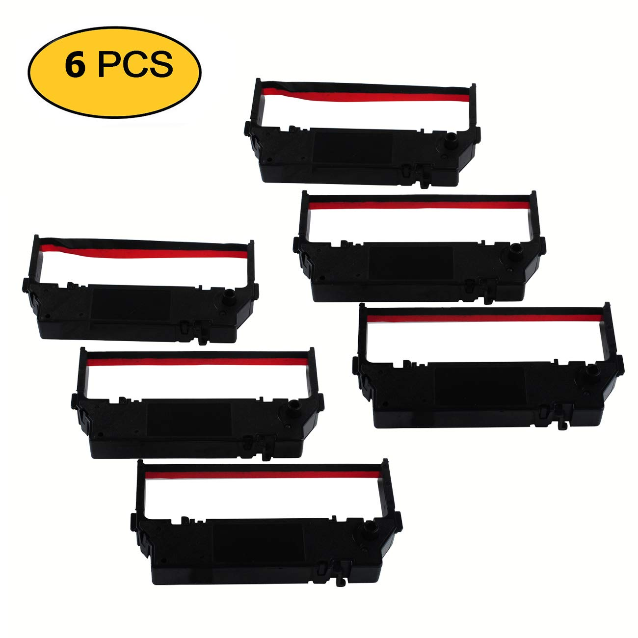 Printer Ribbon Cartridge Compatible Star SP700, Star RC700BR, RC700, SP712, SP717, SP742, SP747, Black/Red Replacement, Pack of 6 Boxs Poweka