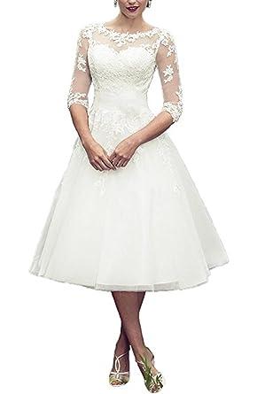 BRLMALL Women\'s Vintage 50s Style Fancy Wedding Dress Tea-length ...
