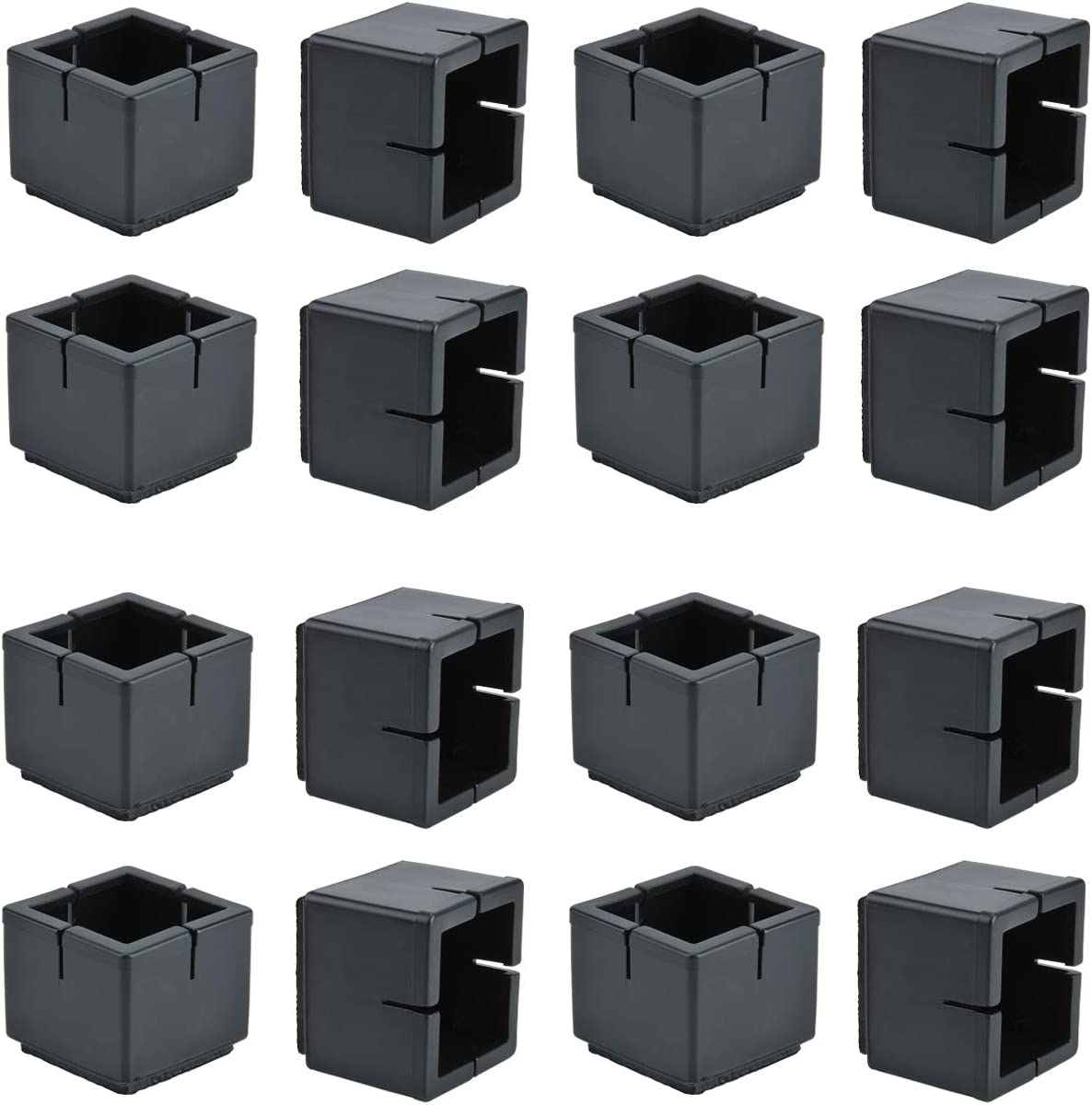 Chair Leg Floor Protectors, WarmHut 16pcs Black Silicone Table Furniture Leg Feet Tips Covers Caps, Felt Pads, Prevent Scratches, Wood Floor Protector (Square)(Black)